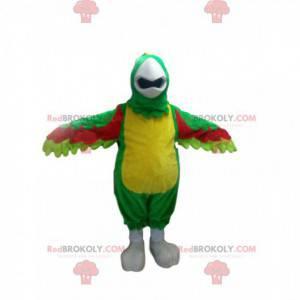 Mascotte pappagallo multicolore con una bella cresta -