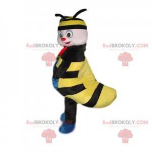 Maskot lille sort og gult insekt med et smukt smil -