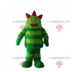 Grünes und rotes Monstermaskottchen - Redbrokoly.com