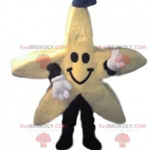 Žlutá hvězda maskot s džínovou čepicí - Redbrokoly.com