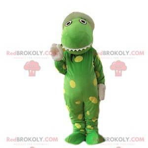 Mascotte coccodrillo verde molto divertente con macchie gialle