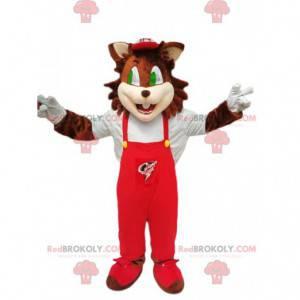 Brązowy kot maskotka z czerwonym kombinezonem - Redbrokoly.com