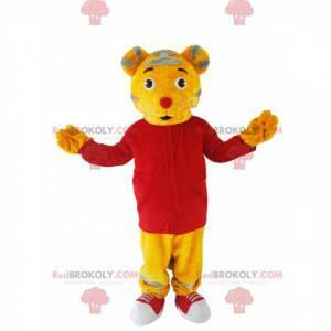 Yellow tigger mascot with a red jersey - Redbrokoly.com