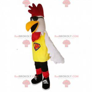 White chicken mascot with sunglasses - Redbrokoly.com