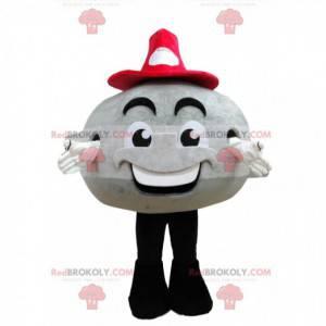 Šedý kulatý maskot sněhuláka s červeným kloboukem -