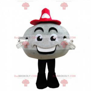Gray round snowman mascot with a red hat - Redbrokoly.com