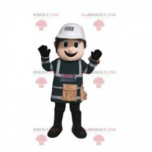 Údržbář maskot s bílou ochrannou přilbou - Redbrokoly.com