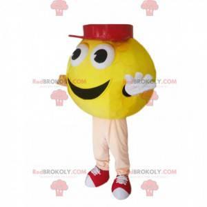 Gelbes rundes Schneemannmaskottchen mit einer roten Kappe -