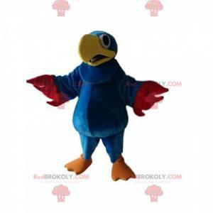 Blaues Papageienmaskottchen mit einem schönen gelben Schnabel -