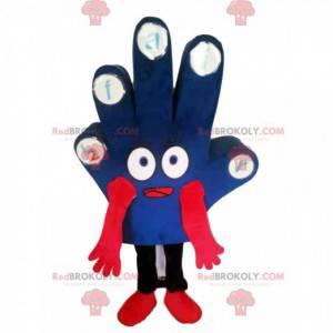 Blue hand mascot with big eyes - Redbrokoly.com