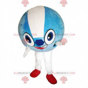 Very smiling sky blue round balloon mascot - Redbrokoly.com
