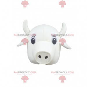 Mascote cabeça de vaca branca - Redbrokoly.com