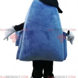 Blaues und lila Rucksackmaskottchen mit einem großen Lächeln -