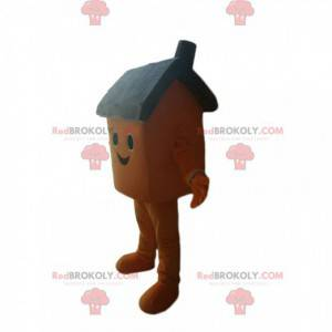 S úsměvem hnědý dům maskot - Redbrokoly.com