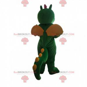 Green and yellow dinosaur mascot with wings - Redbrokoly.com