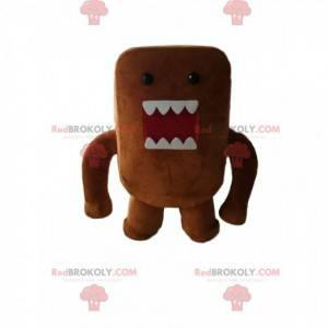 Maskottchen kleines braunes Monster mit großen Zähnen -