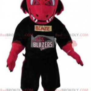 Fuchsia dragon mascot threatening with a supporter jersey -