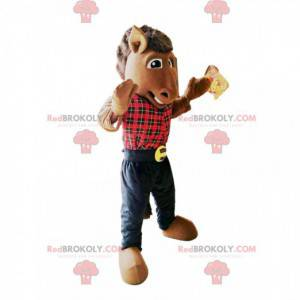Horse mascot with a red plaid shirt - Redbrokoly.com