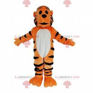Orange und schwarzer Tiger Maskottchen mit funkelnden Augen -