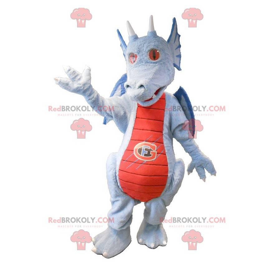 Rød og blå grå drage maskot - Redbrokoly.com