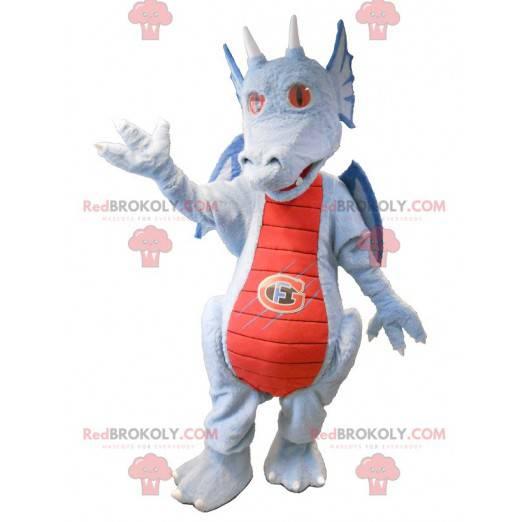 Červený a modrý šedý drak maskot - Redbrokoly.com