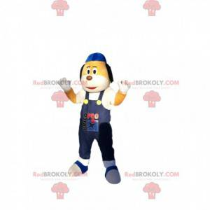 Mascot small yellow and white dog with blue overalls -