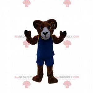 Mascote de carneiro marrom com roupa esportiva azul -