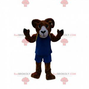 Mascotte bruine ram met blauwe sportkleding - Redbrokoly.com