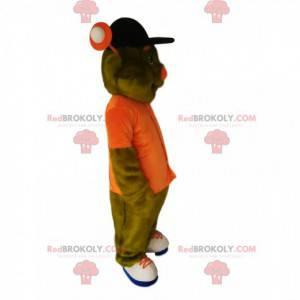 Zelený mimozemský maskot s oranžovou košilí - Redbrokoly.com