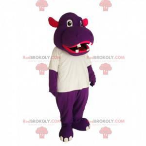 Mascote hipopótamo roxo com uma camiseta branca - Redbrokoly.com