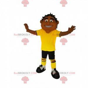 Homem mascote com roupa desportiva amarela e preta -