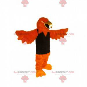 Orange eagle mascot with a golden beak and a black t-shirt -