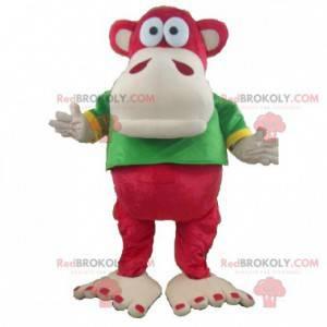 Maskot červené a béžové opice se zeleným a žlutým tričkem -