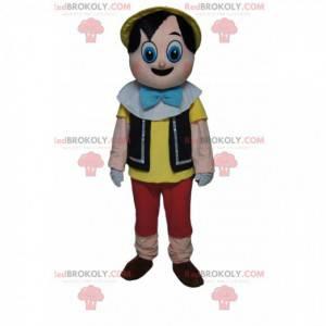 Mascote do Pinóquio com olhos grandes e surpresos -