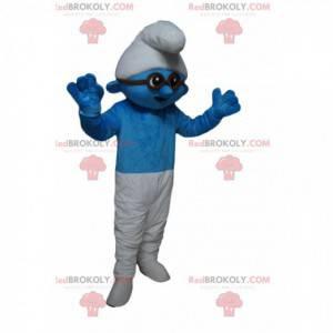 Blaues und weißes Schlumpfmaskottchen mit schwarzer Brille -