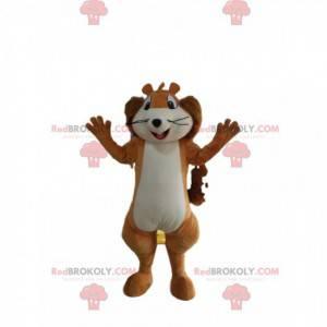 Mascote esquilo muito engraçado. Fantasia de esquilo -