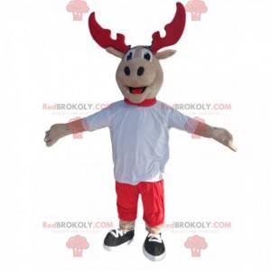 Mascote de rena com chifres vermelhos e uma camisa branca -