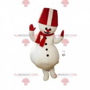 Mascote do boneco de neve com um grande chapéu vermelho -