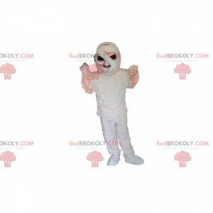 Mummified skeleton mascot with black eyes - Redbrokoly.com