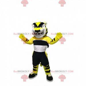 Velmi hrozivý tygří maskot se sportovním oblečením -