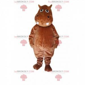 Hipopótamo mascote marrom. Fantasia hipopótamo - Redbrokoly.com