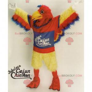 Giant red, yellow and blue bird mascot all hairy -