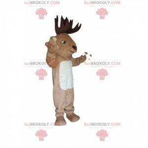 Mascota de ciervo con hermosas astas marrones - Redbrokoly.com