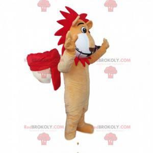 Lustiges Löwenmaskottchen mit einer roten Mähne - Redbrokoly.com