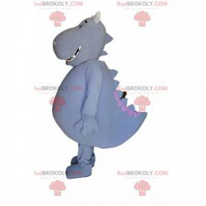 Veldig entusiastisk grå dinosaur maskot - Redbrokoly.com