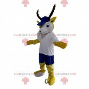 Mascotte stambecco giallo e bianco con un berretto blu -
