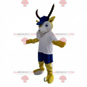 Maskot žlutý a bílý kozorožec s modrou čepicí - Redbrokoly.com