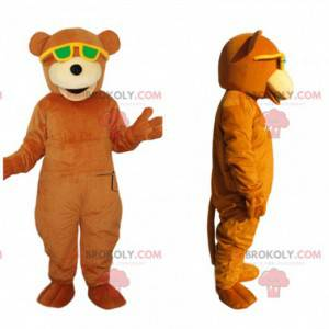 Orange bear mascot with yellow sunglasses - Redbrokoly.com