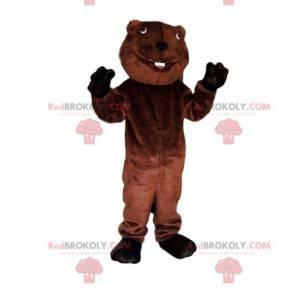 Mascotte castoro marrone con un enorme sorriso - Redbrokoly.com