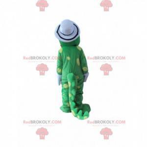 Zelený dinosaurus maskot žluté puntíky s bílým kloboukem -